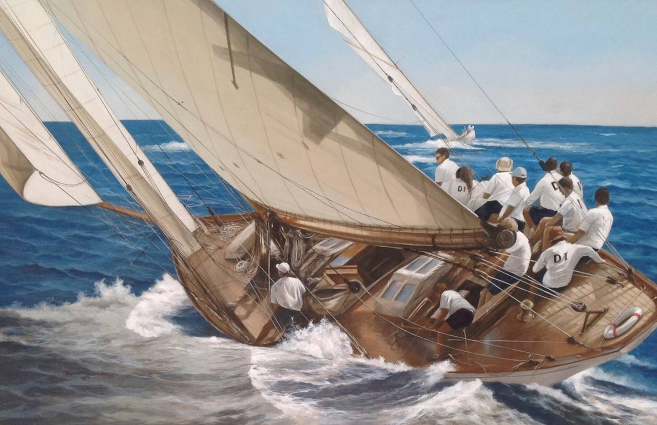 """Mariska"" Wooden Sailing Boat Being Raced in Blue Ocean"