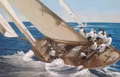 """D1 Mariska"" Oil Painting on Linen of a Wooden Sailing Boat"