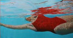 """Suspense"" Oil Painting of Woman in Red Bathing Suit Swimming Under Water"