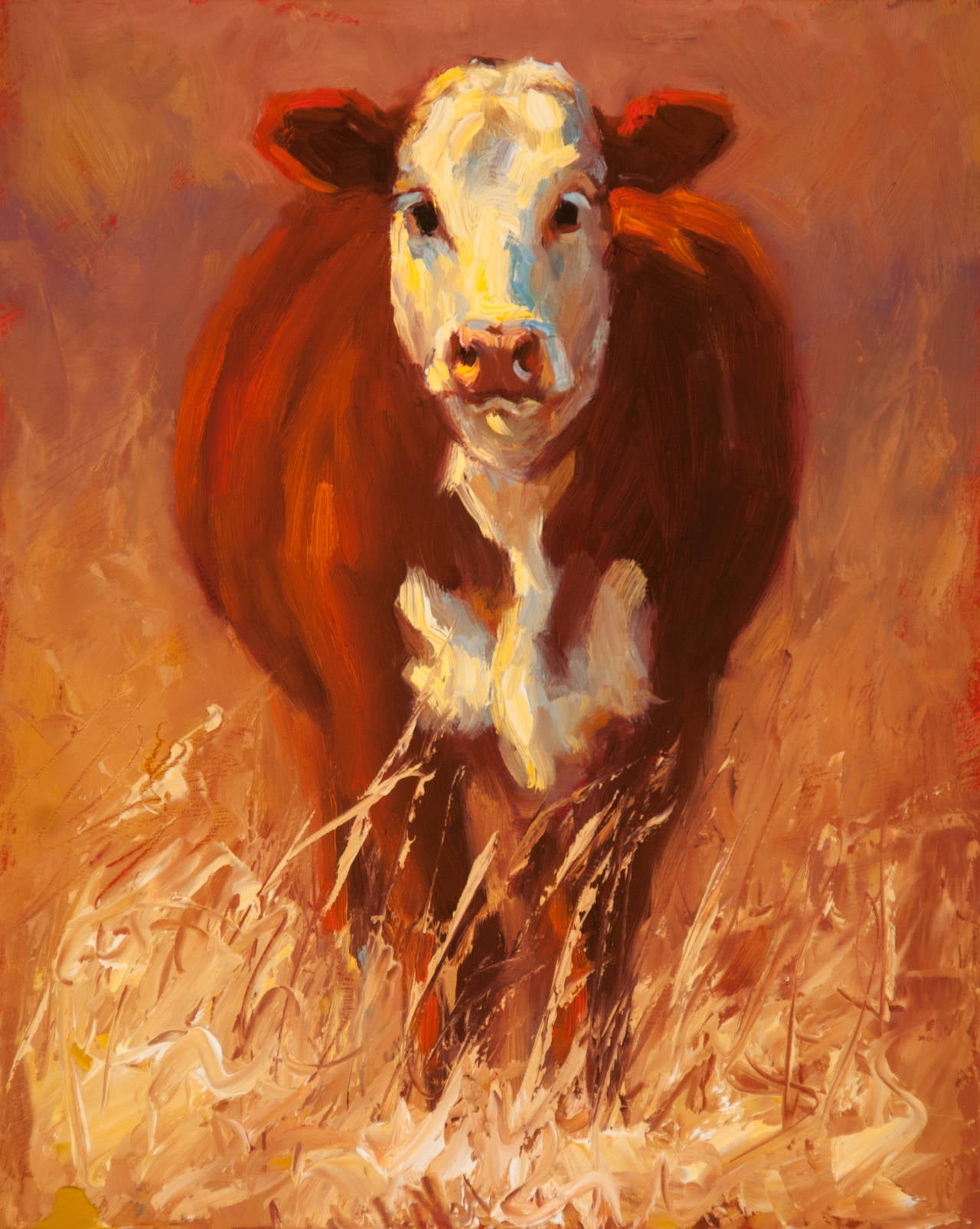 Out Standing in the Field -Oil Painting of a Cow in Tall Grass