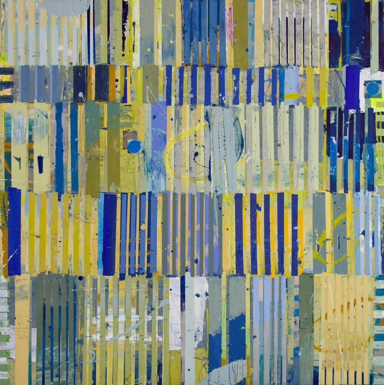 """""""Magicus Quadratus 17"""" Abstract Painting in Blue Yellow Green of Math Concept  Jylian Gustlin is a native Californian and grew up in the San Francisco bay area. She has been shaped by the technology explosion of Silicon Valley and her art reflects"""