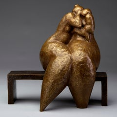 """A Secret"" bronze sculpture of a rounded figure whispering to another"