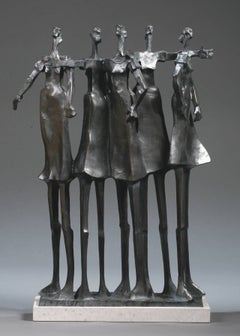 """Alliance"" bronze sculpture of 5 woman standing with arm around each other"