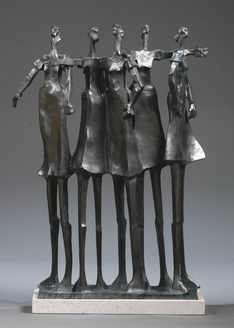 """""""Alliance"""" bronze sculpture of 5 woman standing with arm around each other 1"""