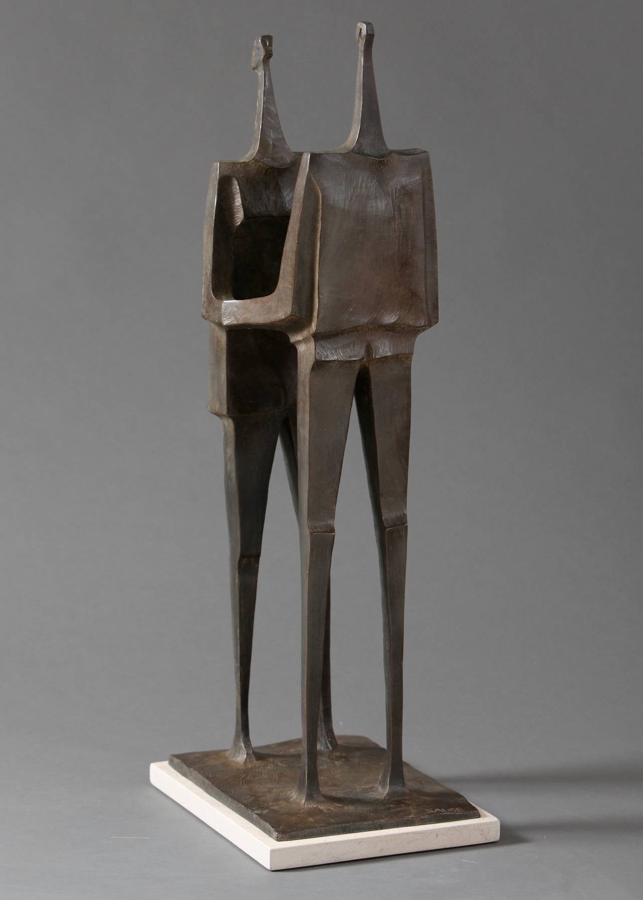 """Together"" Stylized Angular Sculpture of Couple Embracing"