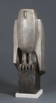 """Whoo"" contemporary bronze sculpture of an owl with gray patina"