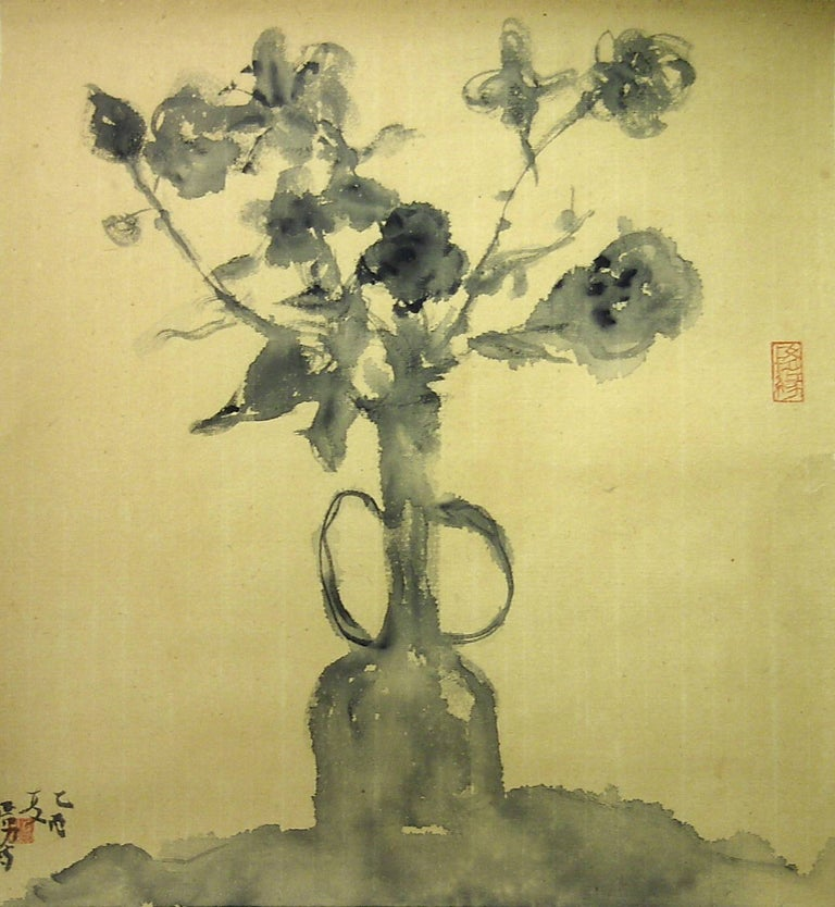 "Luo Yanan Still-Life - ""Untitled #4"" Chinese still life of a vase of flowers in black ink on paper"