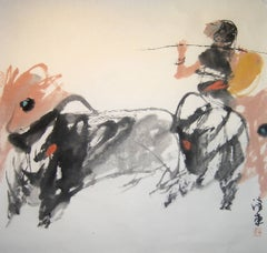 """#9 Mountain Oxen Series"" Chinese abstract ink on paper work of figure and oxen"
