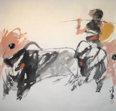 """""""#9 Mountain Oxen Series"""" Chinese abstract ink on paper work of figure and oxen"""