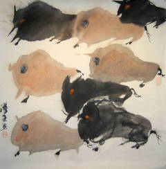 """""""#10 Mountain Oxen Series"""" Chinese abstract ink on paper drawing of oxen"""