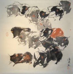"""#11 Mountain Oxen Series"" Chinese abstract ink on paper"