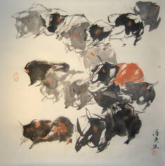 """""""#11 Mountain Oxen Series"""" Chinese abstract ink on paper"""