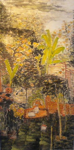 """Fresh View of the Day"" Large-Scale Work on Paper of Courtyard and Trees Chinese"