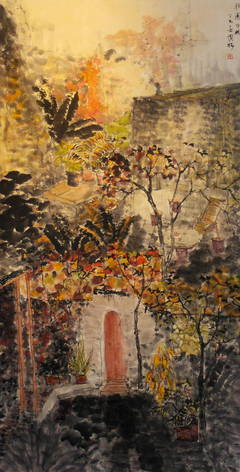 """Fall Day"" Large-Scale Work on Paper of Courtyard and Trees Chinese Tradition"