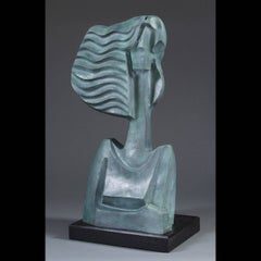 """Savannah 3/12"" modern bronze sculpture of woman with wavy hair and teal patina"