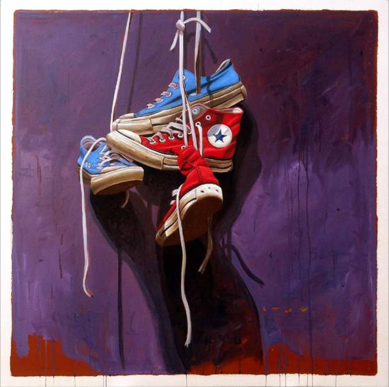 """#558"" Old Red and Blue Chuck Taylor Sneakers on Laces Dark Purple Background"