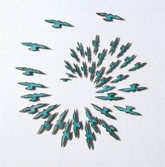 """""""In Around About Way"""" Sculptural wall installation of bronze murmuring birds"""