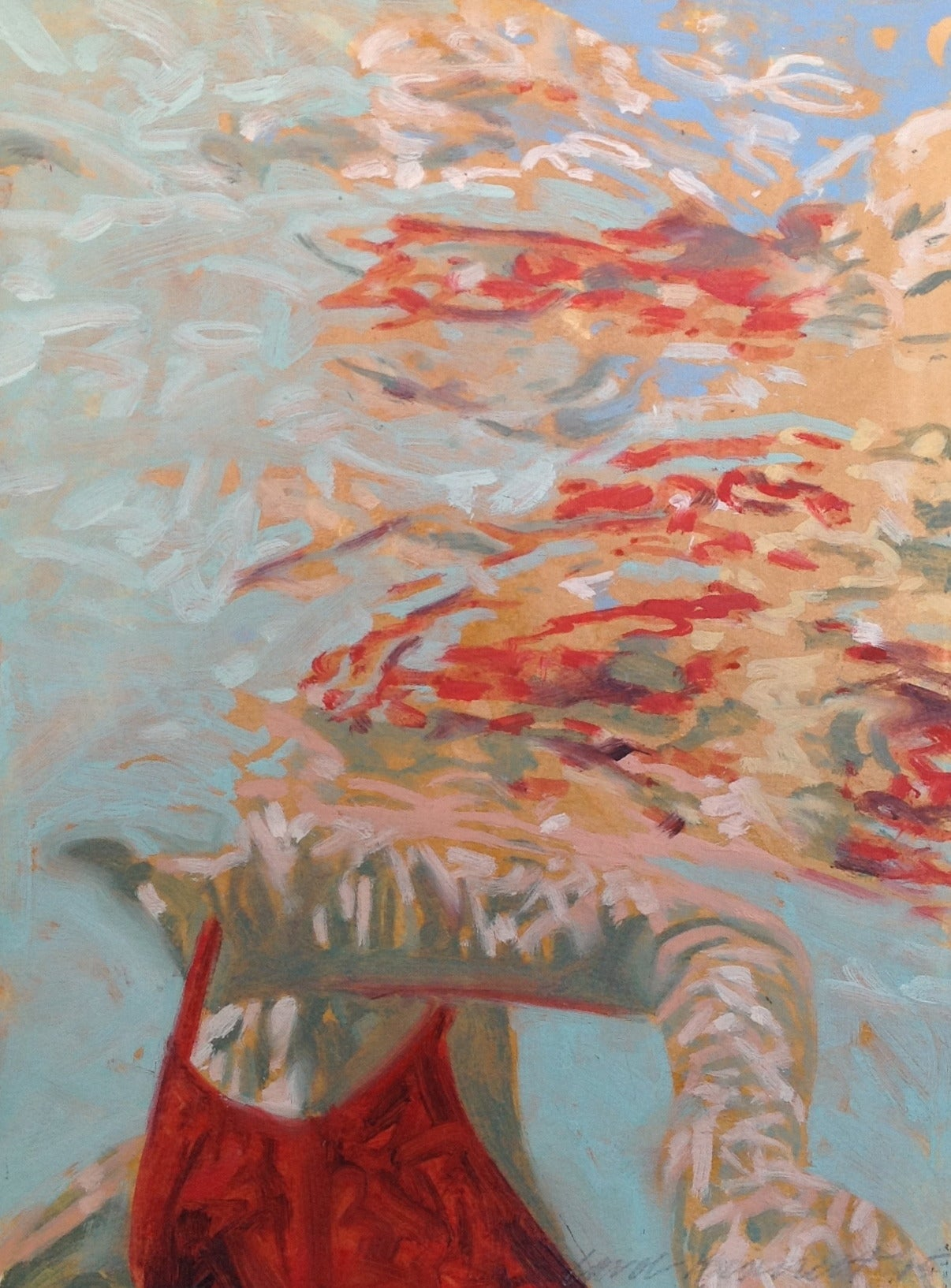 """""""Papillion"""" Oil painting of a woman in a red swimsuit in a blue pool"""