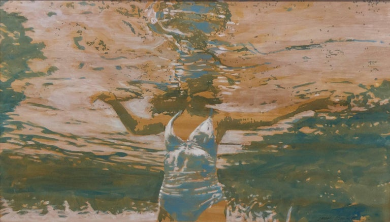 "Carol Bennett Landscape Painting - ""Pool Chill"" Abstract oil painting of a woman in a white swimsuit in a blue pool"