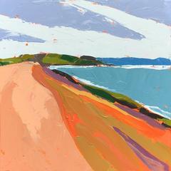"""Above the Shore"" Painterly Impasto Landscape with Orange Purple Turquoise Green"
