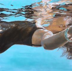 """Bracelet"" Oil painting of a woman in black swimsuit in blue pool with bracelet"