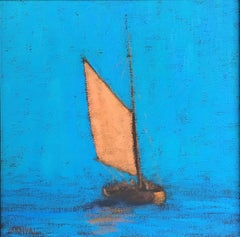 """""""Provincetown Harbor"""" Yellow Sailed Catboat in Bright Blue Sky and Sea"""