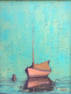 """""""Pleasant Bay (Evening)"""" White Sailboat Moored with Turquoise Sea and Sky"""