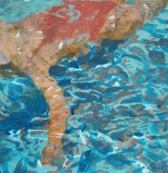 """Havenhurst"" Abstract oil painting of a woman in a red swimsuit in a blue pool"