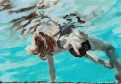 """Flow"" Abstract oil painting of a woman in a blue pool"