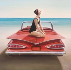"""The Red Beauty"" Woman in Black Bathing Suit Posing on a Red 1959 Chevy on Beach"