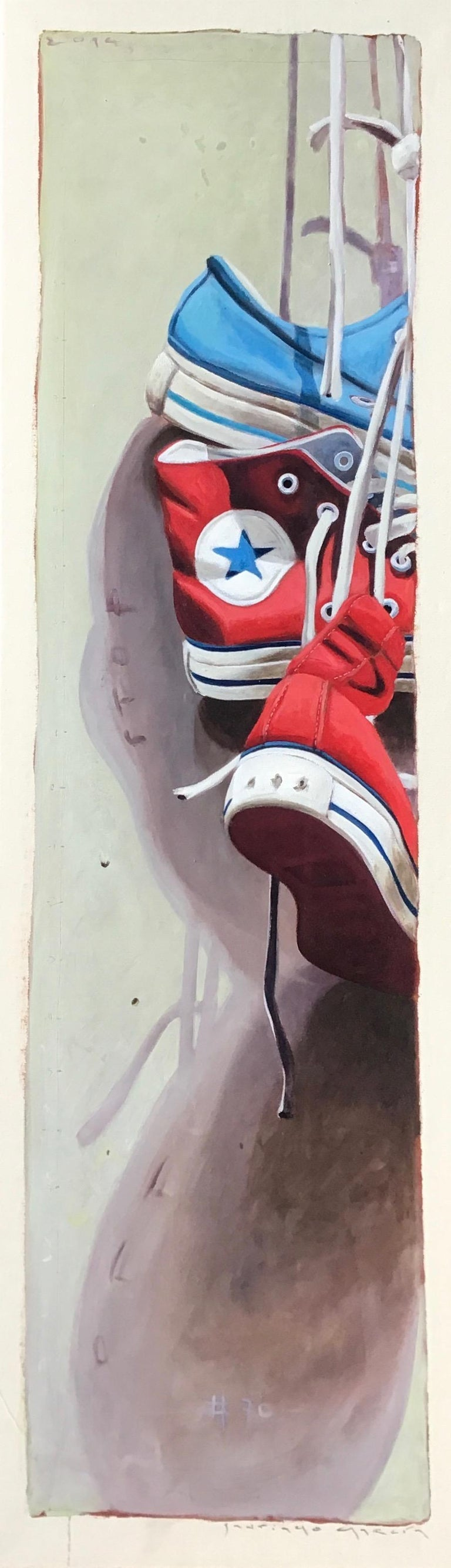 """Converse #70"" Detailed Vertical Painting of Red and Blue Chuck Taylors"