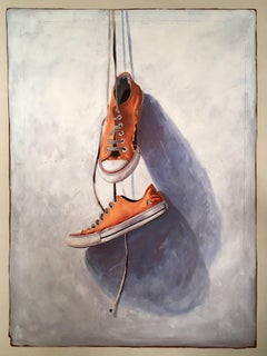 """#21"" Realism Painting of Old Orange Vintage Chuck Taylor Sneakers Dangling"