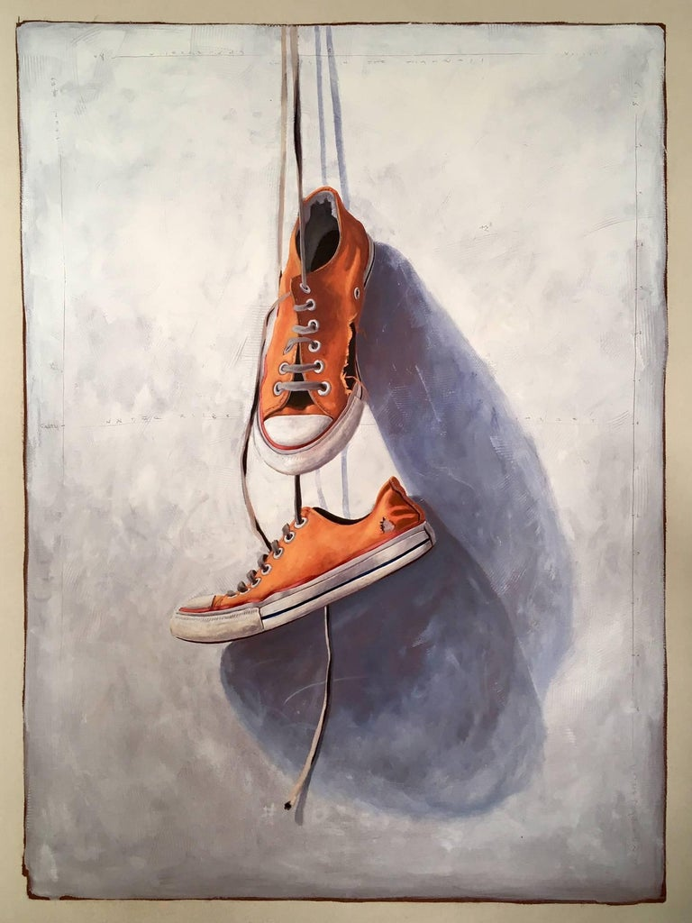 "Santiago Garcia Still-Life Painting - ""#21"" Realism Painting of Old Orange Vintage Chuck Taylor Sneakers Dangling"