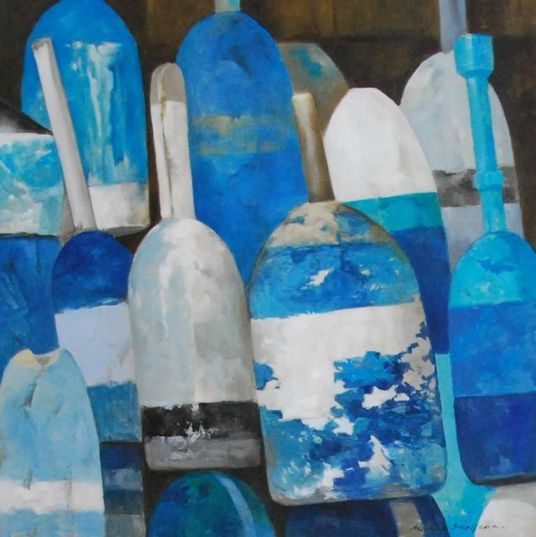 """""""Les Bouys Bleus No. 1"""" Oil Painting of Blue and White Buoys on Linen"""