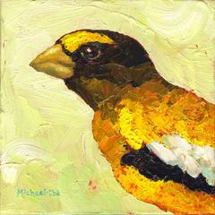 """""""Daily Duties"""" portrait of a yellow and black bird on a yellow background"""