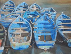 """All Tied Up"" Blue Wooden Rowboats Tied at Dock, Painted on Linen"