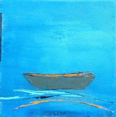 """""""Little Memory #16"""" small painting of a boat with bright blue background"""