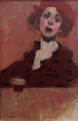 """""""Red Hat"""" portrait oil painting of a woman in a red hat with red wine"""
