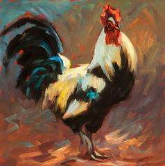 """""""Walking Tall"""" Chicken in Light Yellow and Deep Blue, Red"""