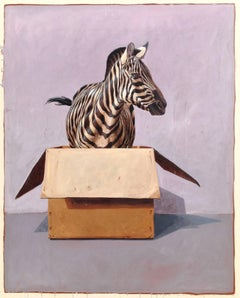 """Andante #58"" Photorealistic oil painting of a zebra in a cardboard box"