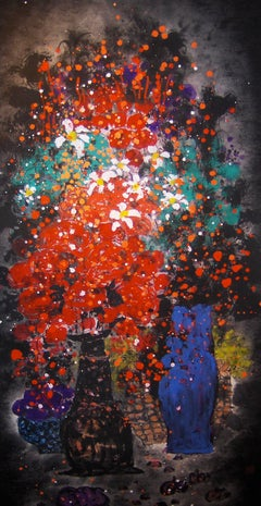 """""""Flower Solioquy #7"""" Chinese abstract still life red, turquoise, blue and black"""