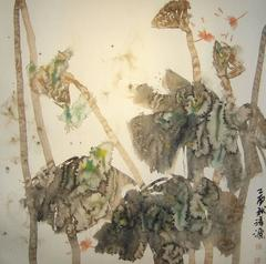 """Dragonfly #7"" Chinese abstract ink on paper in neutral palette"