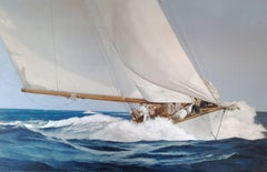 """Speed & Foam"" Large oil painting of a wooden sailing yacht in deep blue waves"