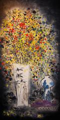 """""""Sweet Flower Soliloquy #4"""" Chinese still life in yellow, red, blue and black"""