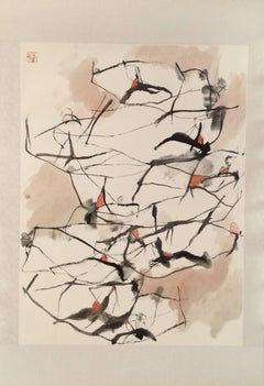 """Oxen #5"" Chinese abstract ink on paper in black, white and red accents"