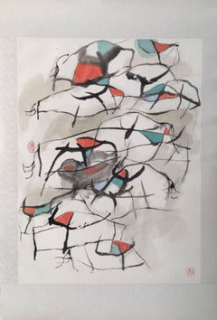 """Oxen #11"" Chinese abstract ink on paper in black, white, red and green"