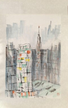 """Behind The Wall #7"" Chinese abstract cityscape ink on paper"