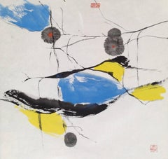 """Birdfish #8"" Chinese abstract ink on paper in blue, yellow and black"