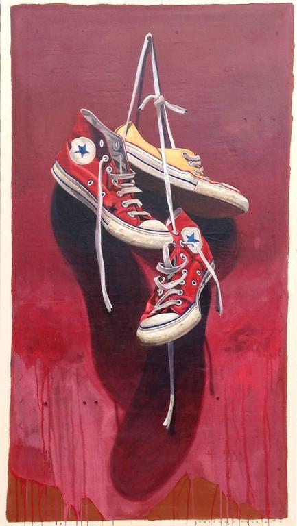 """#533"" Old Red and Yellow Chuck Taylors with Maroon Background"