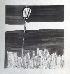 """City Light #3"" Chinese abstract cityscape ink on paper in black and white"